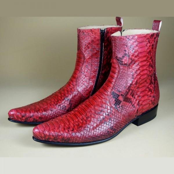 Ambachtelijk slangenleren laarzen rood napoli Shoes ook
